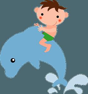 Boy Riding on a Dolphin clipart