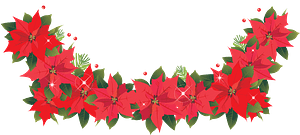 Poinsettia flower garland clipart