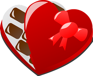 Valentine day chocolate box clipart
