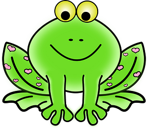 Green Valentine frog with pink hearts clipart