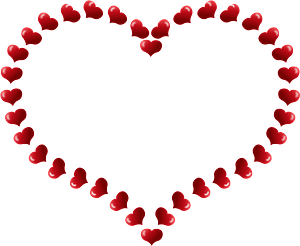 Red heart shaped border with little hearts clipart