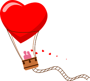 Valentine's Day hot air balloon clipart