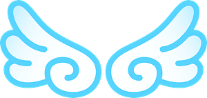 Angel wings - blue outline clipart