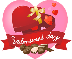 Valentine's Day Heart and Chocolates clipart