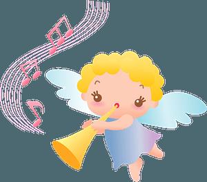 Angel blowing bugle 剪贴画