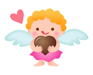 Cupid Holding Chocolate Heart clipart