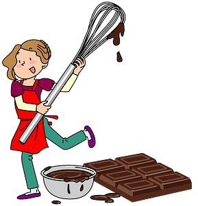 Woman making Valentine's Day chocolate clipart
