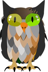 Owl with two different green eyes clipart