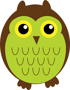 Brown and Green Owl - Father clipart