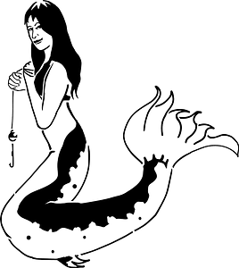 Catfish mermaid (stencil) clipart
