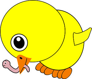Funny chick eating earthworm clipart