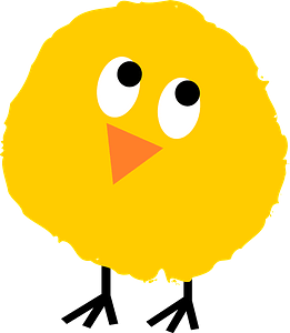 Fluffy chick rolling eyes clipart