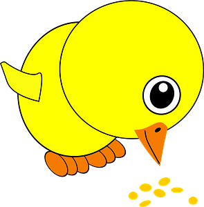 Funny chick eating bird seed clipart