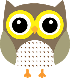 Green Owl with Yellow Eye Rings clipart
