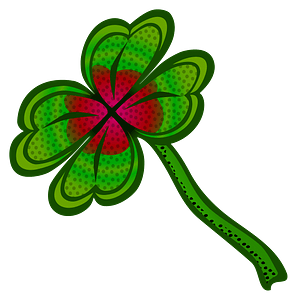 Four-leaf clover with a red center clipart