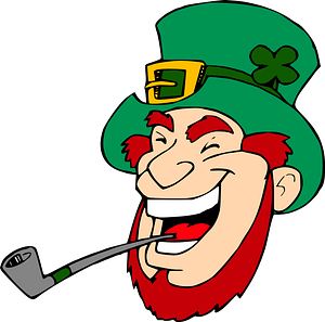 Laughing leprechaun with pipe clipart