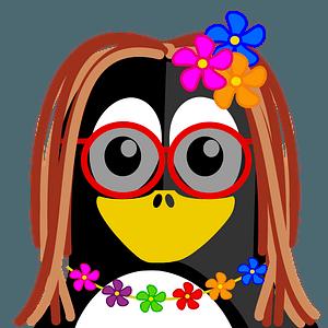 Hippie penguin clipart