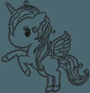 Cute unicorn lineart clipart