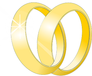 Two Gold Wedding Bands Intertwined clipart
