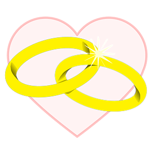 Two Gold Wedding Bands Intertwined with Heart Background clipart