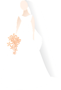 Simple Silhouette of Light Skin Bride in Her Wedding Dress clipart