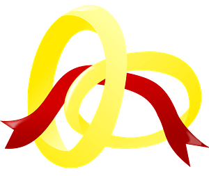 Two Gold Wedding Bands and Red Ribbon clipart