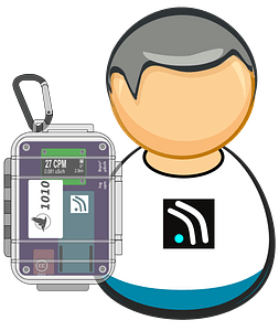 Citizen monitoring - common guy with bgeigie detector clipart