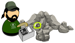Searching for radioactive minerals / rocks clipart
