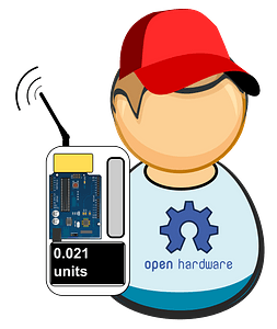 Citizen monitoring - common guy with homemade sensor clipart