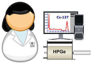 Spectrometrist in lab clipart