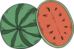 Watermelon and half clipart