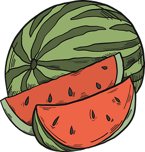 Watermelon and slices clipart