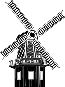 Windmill - Black and white clipart