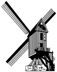 Dutch windmill - Black and white clipart