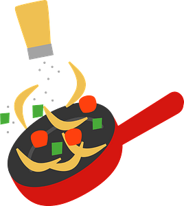 Fried vegetables cooking clipart