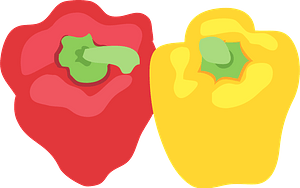 Red and Yellow Bell Peppers clipart