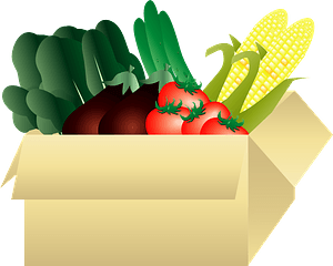 Vegetables in a cardboard box clipart