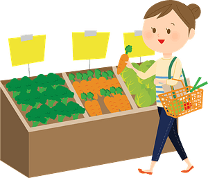 Woman shopping for vegetables clipart