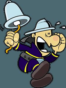 Fireman rings alarm bell clipart