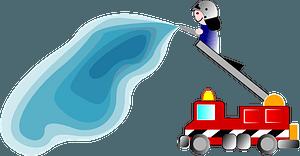 Firetruck and fireman clipart