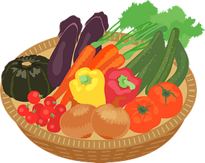 Vegetables in a basket clipart
