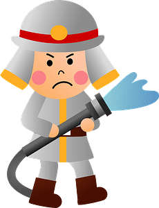 Firefighter with Hose clipart