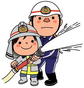 Kid Helping Firefighter with the Hose clipart