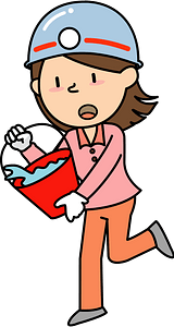 Woman carrying water bucket in a fire drill clipart