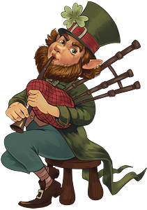 Leprechaun playing bagpipes clipart