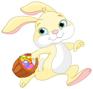 Easter bunny with basket clipart