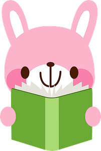 Rabbit is reading a book clipart