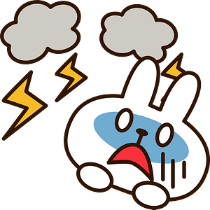 Lightning and thunder are scaring a rabbit 클립 아트