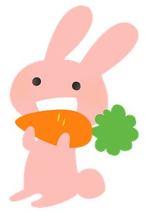 Rabbit eating carrot clipart