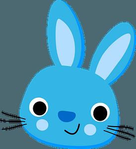 Blue rabbit face clipart